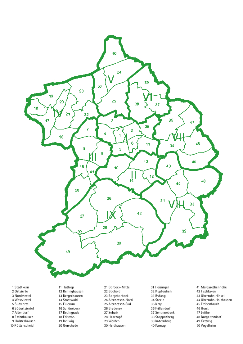 Stadt Essen Karte.Stadtbezirke Stadtteile