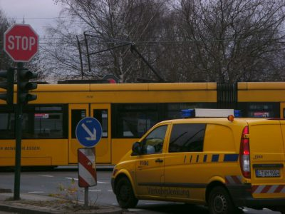 EVAG tram Unfall Stromabnehmerbruch